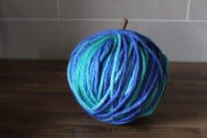 wool wrapped teal pumpkin