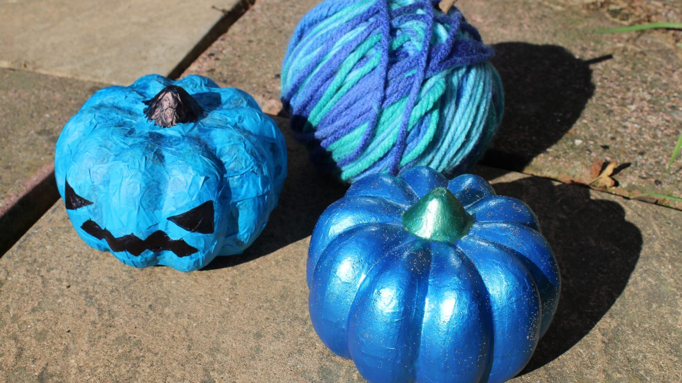 3 teal pumpkins