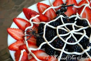 halloween spider web fruit platter