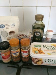 ingredients for gingerbread biscuits