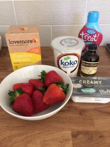 ingredients for dairy free cheesecake bowl