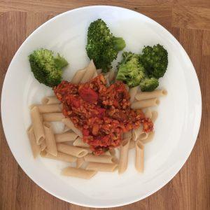 spaghetti bolognese made with Sunflower Hack vegan mince alternative