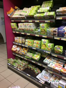 free from foods in French hypermarket