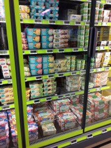 dairy-alternative yogurts at French hypermarket