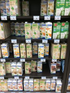 dairy free milk selection in small local Carrefour supermarket