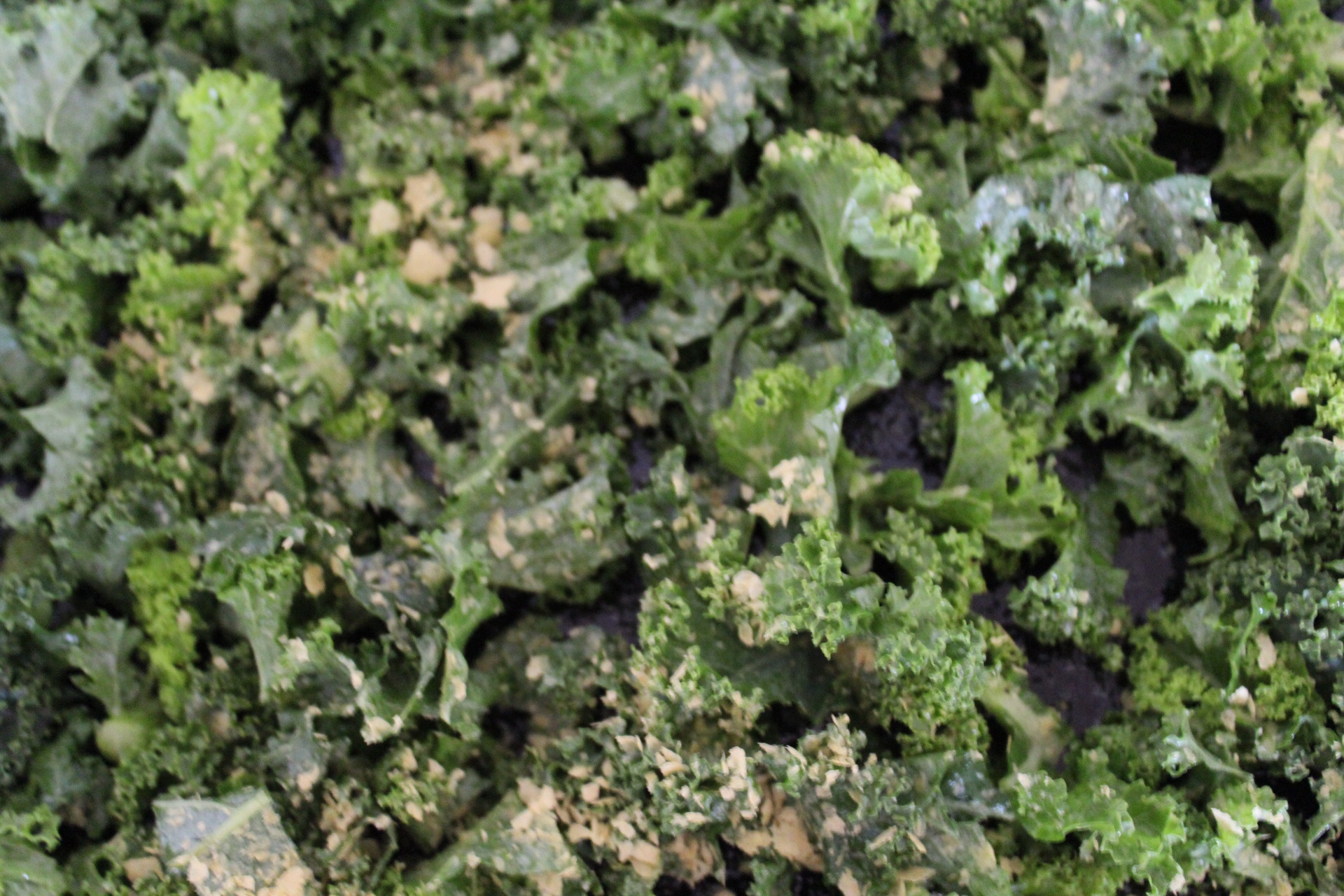 kale topped with nutritional yeast