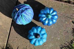 teal pumpkins from above