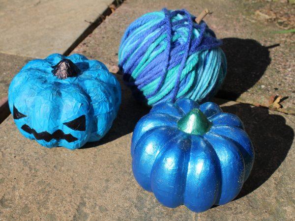 3 teal pumpkins