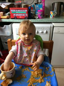 baby eating soup